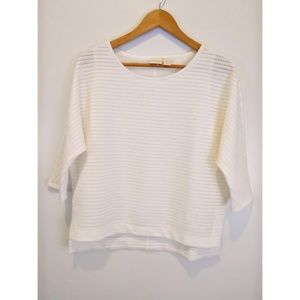 Chico's Textured White Top Dolman Sleeves